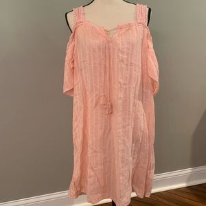 Aerie peachy pink cold shoulder tunic